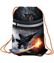 "Мешок для обуви Berlingo ""Fighter jet"", 410*490мм, световозвращающая лента, 1 отд., карман на молнии"