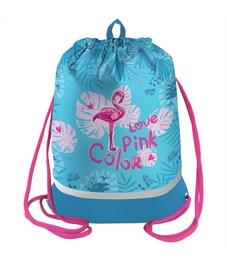 "Мешок для обуви Berlingo ""Flamingo"", 400*490мм, расшир. дно, световозвр. лента, карман на молнии"
