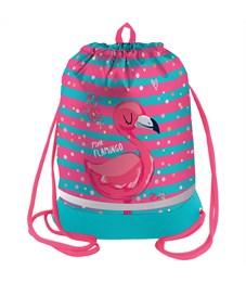 "Мешок для обуви Berlingo ""Flamingo style"", 400*510мм, расшир. дно, свет.лента, 1отд., карман на молн"