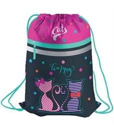 "Мешок для обуви Berlingo ""Happy cats"", 410*490мм, световозвращающая лента, 1 отд., карман на молнии"
