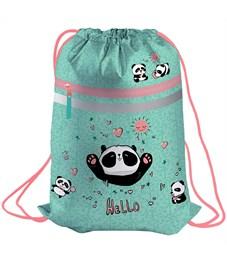 "Мешок для обуви Berlingo ""Hello, Panda"", 410*490мм, световозвращающая лента, карман на молнии"