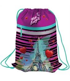 "Мешок для обуви Berlingo ""Mon amour"", 410*490мм, световозвращающая лента, 1 отд., карман на молнии"
