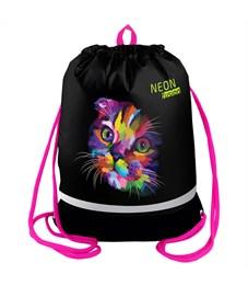 "Мешок для обуви Berlingo ""Neon Cat"", 400*510мм, расшир. дно, светов. лента, 1отд., карман на молнии"