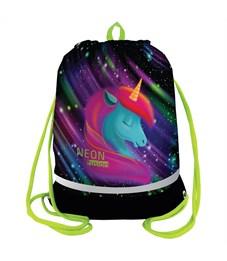 "Фото 1. Мешок для обуви Berlingo ""Neon Unicorn"", 400*510мм, расшир. дно, свет.лента, 1отд., карман на молнии"