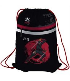 "Мешок для обуви Berlingo ""Ninja"", 410*490мм, световозвращающая лента, 1 отд., карман на молнии"