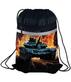 """Мешок для обуви Berlingo """"No fear"""", 410*490мм, световозвращающая лента, карман на молнии"""