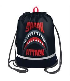 "Мешок для обуви Berlingo ""Shark attack"", 400*510мм, расшир. дно, свет.лента, 1отд., карман на молнии"