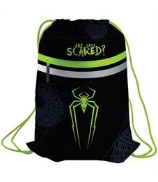"""Мешок для обуви Berlingo """"Spider"""", 410*490мм, световозвращающая лента, 1 отд., карман на молнии"""