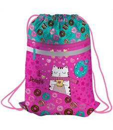 "Мешок для обуви Berlingo ""Sweet cat"", 410*490мм, световозвращающая лента, карман на молнии"