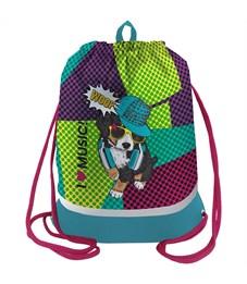 """Мешок для обуви Berlingo """"Wow dog"""", 400*490мм, расшир. дно, световозвр. лента, карман на молнии"""