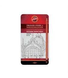 Набор чернографитных карандашей KOH-I-NOOR 1502/3 12 шт. 5В-5Н