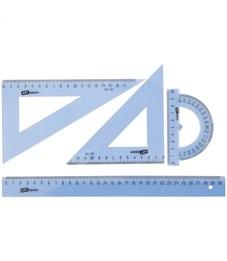 Набор чертежный большой ArtSpace, (треуг. 2шт., линейка 30см, транспортир), прозрачный тонированный