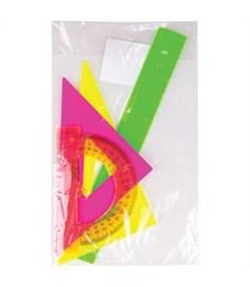 """Фото 2. Набор чертежный малый Стамм """"Neon"""", (треуг. 2шт., линейка 16см, транспортир)"""