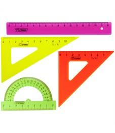 Набор чертежный малый Стамм, (треуг. 2шт., линейка 16см, транспортир), цветной