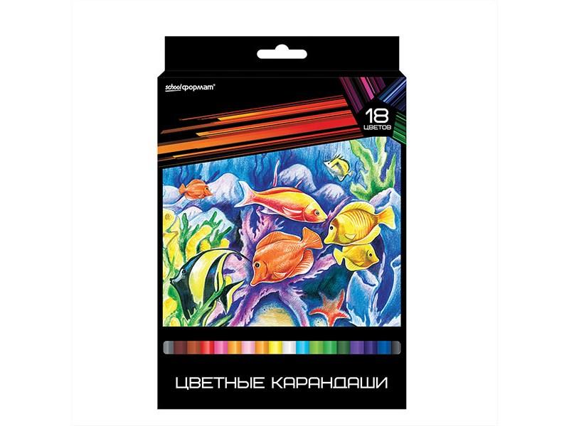 Цветные карандаши schoolФОРМАТ ДИКАЯ ПЛАНЕТА 18 цв. трехгранные