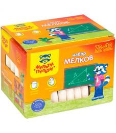 """Набор цветного мела Мульти-Пульти """"Енот в школе"""", 70 бел. + 30 цв., круглый, 100шт., карт. коробка"""