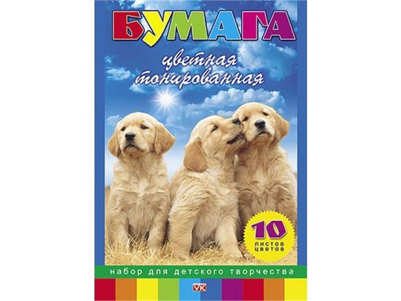 """Набор цветной тонированной бумаги Hatber """"Два щенка"""", 10цв., А4"""