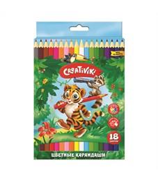 Набор цветных карандашей Creativiki 18 цв. шестигранные