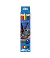 Набор цветных карандашей Стритрейсинг 6 цв. шестигранные КЦ06-5СР