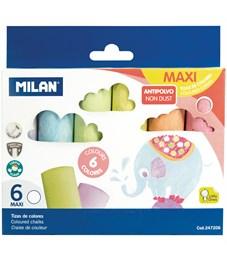 """Набор цветных мелков асфальтовых Milan """"Maxi"""", 6цв., картонная коробка, европодвес"""