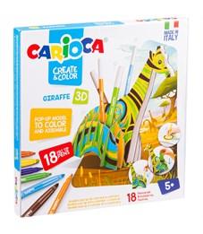 """Набор для рисования Carioca """"Giraffe"""" 18 фломастеров + сборная подставка, картон.уп."""