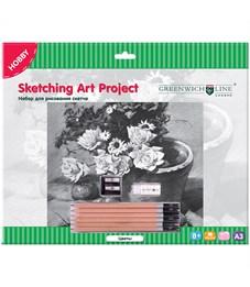 """Набор для рисования скетча Greenwich Line """"Цветы"""" , A3, карандаши, ластик, точилка, картон"""