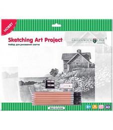 """Набор для рисования скетча Greenwich Line """"Дом на холме"""", A3, карандаши, ластик, точилка, картон"""