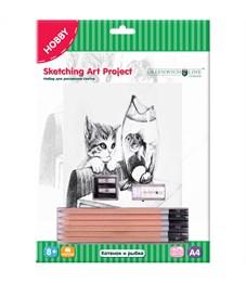 """Набор для рисования скетча Greenwich Line """"Котенок и рыбка"""", A4, карандаши, ластик, точилка, картон"""