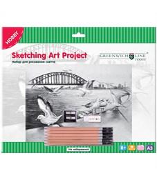 """Набор для рисования скетча Greenwich Line """"На набережной"""", A3, карандаши, ластик, точилка, картон"""