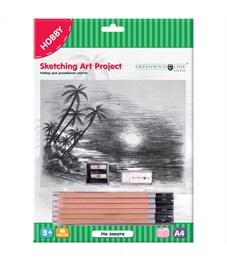 """Набор для рисования скетча Greenwich Line """"На закате"""", A4, карандаши, ластик, точилка, картон"""