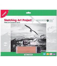 "Набор для рисования скетча Greenwich Line ""Перед штормом"", A3, карандаши, ластик, точилка, картон"