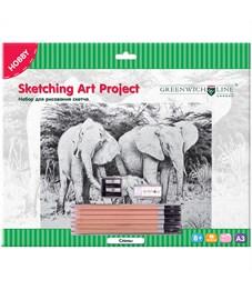 """Набор для рисования скетча Greenwich Line """"Слоны"""", A3, карандаши, ластик, точилка, картон"""