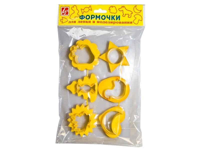 Набор формочек для лепки и моделирования Луч №2 6 шт., желтые