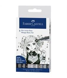"Набор капилл. ручек Faber-Castell ""Pitt Artist Pen Manga Basic set"" ассорти,8шт.,0,3/0,7мм/Brush"