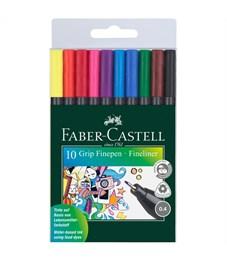 """Набор капиллярных ручек Faber-Castell """"Grip Finepen"""" 10цв., 0,4мм, трехгранные, пластик. уп., европ."""