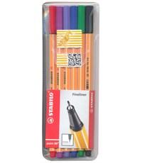 Набор капиллярных ручек Stabilo 88/6 голубой, красный, синий, черный, фиолетовый, сиреневый