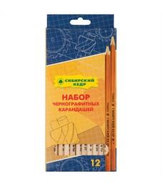 Набор карандашей ч/г Сибирский кедр, 12шт., 2Т-2М, заточен., картон. упак., европодвес