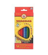Набор карандашей цветных TRIKOLOR трехгранных 12 цв. KOH-I-NOOR