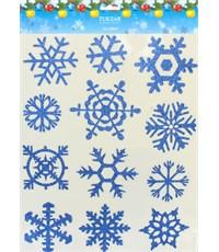 Набор новогодних наклеек на стекло Tukzar Снежинки с блестками-02