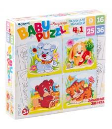 """Набор пазлов 9-16-25-36 эл. Origami """"Для малышей. Забавные зверята"""" 4в1"""