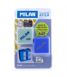 """Набор пластиковая точилка Milan """"Afila"""", 1 отверстие + ластик 430, блистер"""