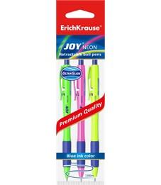 Набор шариковых автоматических ручек Erich Krause Ultra Glide Technology JOY Neon 0.35 мм, 3 шт. синий