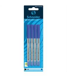 """Набор шариковых ручек Schneider """"Tops 505 M"""", 4шт., синий, 1,0 мм, прозрачный корпус, блистер"""