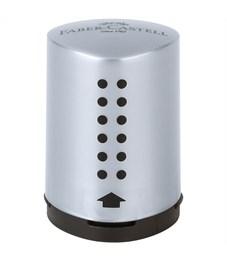 """Точилка пластиковая Faber-Castell """"Grip 2001 Mini"""", 1 отверстие, контейнер, серебряная"""