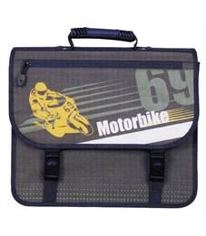 Портфель-ранец TIGER MAX, внешний размер 33.5х37х16.5 см, дизайн мотоцикл