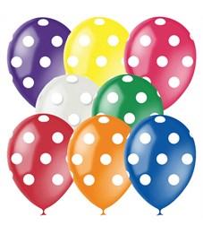 """Воздушные шары,  25шт., М12/30см, Поиск """"Горошек"""", ассорти, 8цв., декор, шелк"""