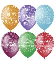 """Воздушные шары,  25шт., M12/30см, Поиск """"Праздничная тематика"""", пастель+декор"""