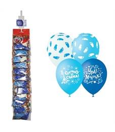 """Воздушные шары,   5шт., М12/30см, Поиск """"К рождению мальчика"""", пастель+декор, ассорти, европ, стрип."""
