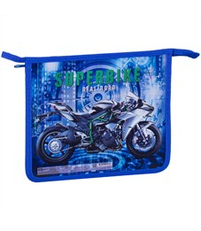 """Папка для тетрадей 1 отделение, А5, ArtSpace """"Super bike"""", картон/пластик, на молнии"""