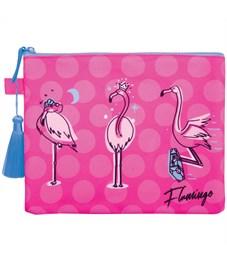 """Папка для тетрадей 1 отделение, А5, Berlingo """"Flamingo"""", текстиль, на молнии"""